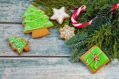 Christmas cookies. Colorful mix of ginger cookies on a blue wood background Royalty Free Stock Image