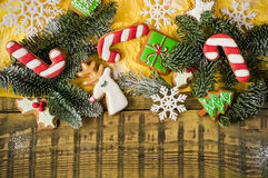 Christmas cookies. Colorful mix of ginger cookies on a light vintage wood background Stock Photo
