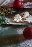Christmas cookies composition. Christmas composition, cookies and baubles Stock Image