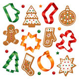 Christmas cookies and cookie cutters Royalty Free Stock Photos