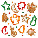 Christmas cookies and cookie cutters stock illustration