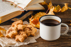 Christmas cookies an cup of coffee Stock Photos