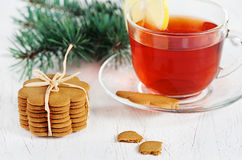 Christmas cookies and cup of tea Stock Photos