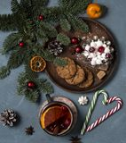 Christmas cookies cup of tea tree new year royalty free stock photo