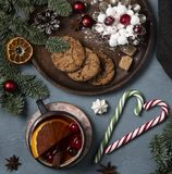 Christmas cookies cup of tea tree new year stock image