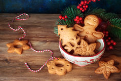 Christmas cookies and decor Stock Images