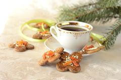 Christmas cookies, decorated with sesame seeds Royalty Free Stock Photo
