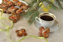 Christmas cookies, decorated with sesame seeds Stock Image