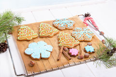 Christmas cookies, decorated sugar and gingerbread in tree and snowflake shapes. Stock Images