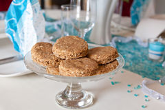 Christmas cookies on decorated table Stock Image