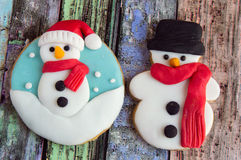 Christmas cookies. Decorated with wood Stock Photography
