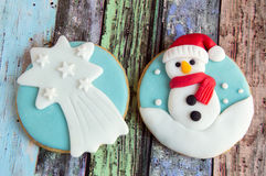 Christmas cookies. Decorated with wood royalty free stock images