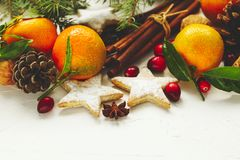 Christmas cookies, decoration and gifts royalty free stock images