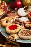 Christmas Cookies with Decorations. Pile of Various Christmas Cookies and Decorations Stock Photo