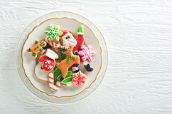 Christmas Cookies. Delicious homemade christmas cookies plated on a white background Stock Photos