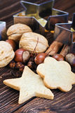 Christmas cookies and different ingredients Royalty Free Stock Images