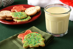 Christmas cookies and egg nog Stock Photo