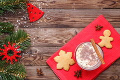 Christmas cookies, eggnog on holiday Stock Images