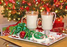 Christmas cookies and eggnog Stock Photo