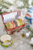Christmas cookies in a festive box Stock Images