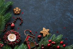 Christmas cookies and festive decor. Ative background Stock Images