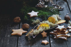 Christmas cookies with festive decor Stock Images