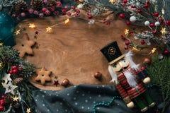 Christmas cookies and festive decor stock photo