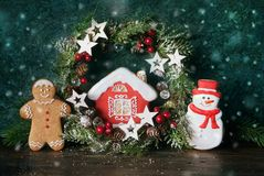 Christmas cookies and winter decor Royalty Free Stock Photo