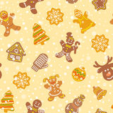 Christmas cookies flat icons seamless pattern Stock Photos