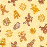 Christmas cookies flat icons seamless pattern stock photos