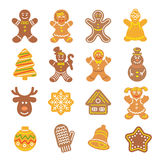 Christmas cookies flat icons set. Set of flat vector icons of different Christmas cookies. Gingerbread men, Christmas tree, reindeer, snowflake, mitten, bell and Stock Image