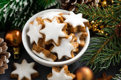 Christmas cookies in the form of stars, top view Stock Image