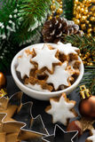 Christmas cookies in the form of stars, vertical Stock Photos