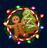 Christmas cookies in frame Royalty Free Stock Photos