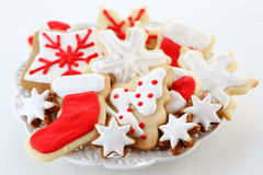 Christmas cookies. With frosting and decorations Royalty Free Stock Photos