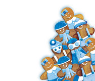 Christmas cookies - funny blue decorated cookies greeting composition Royalty Free Stock Images