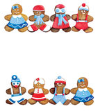 Christmas cookies - funny decorated cookies greeting composition Royalty Free Stock Photos