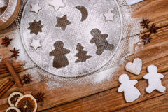 Christmas cookies in funny scene Stock Image