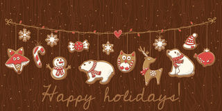Christmas cookies. Garland set design. Vector illustration Royalty Free Stock Photo