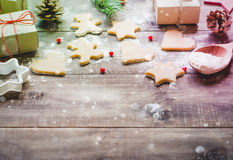 Christmas cookies and gifts stock photo