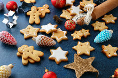 Christmas Cookies with ginger and new year bauble Royalty Free Stock Photos