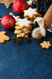 Christmas Cookies with ginger in the shape of star and balls Royalty Free Stock Photo
