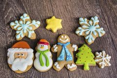 Christmas Cookies. Gingerbread christmas cookies collection for a christmas background royalty free stock photography