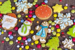 Christmas  Cookies. Gingerbread christmas cookies collection for a christmas background Royalty Free Stock Image