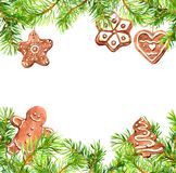 Christmas cookies, gingerbread man, conifer tree branches frame. Christmas card, empty blank. Watercolor vector illustration