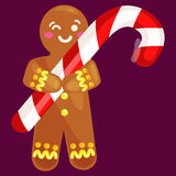 Christmas cookies gingerbread man decorated with icing holding a candy xmas sweet food vector illustration. Set christmas cookies gingerbread man and girl near vector illustration