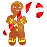 Christmas cookies gingerbread man decorated with icing holding a candy xmas sweet food vector illustration Royalty Free Stock Photo