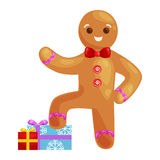 Christmas cookies gingerbread man decorated with icing standing on a stack of gifts xmas sweet food vector illustration Royalty Free Stock Images