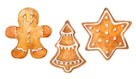 Christmas cookies gingerbread set: gingerman, christmas tree and star. Watercolor hand drawn illustration. Watercolor hand drawn illustration royalty free illustration