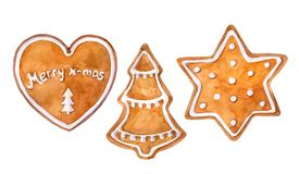 Christmas cookies gingerbread set: heart, christmas tree and star. Watercolor hand drawn illustration. Watercolor hand drawn illustration royalty free illustration